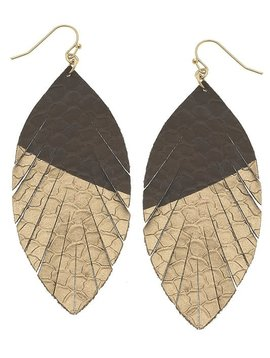 Brown Gold Dipped Teardrop Earring