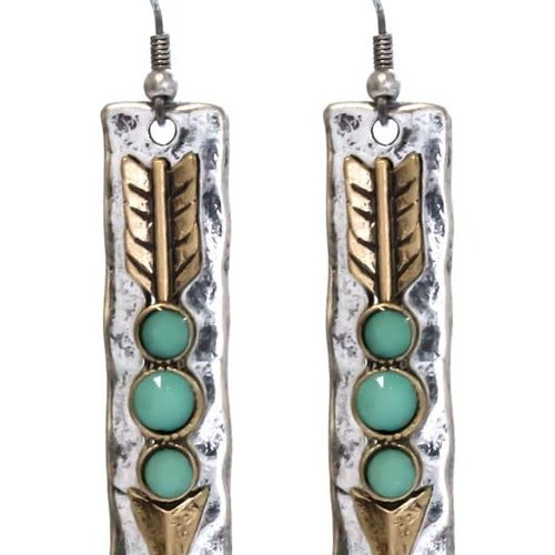Silver + Gold Hammered Arrow Earring