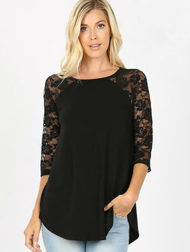 CURVY Black Lace Sleeve Raglan Top