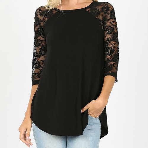 Black Lace Sleeve Raglan Top