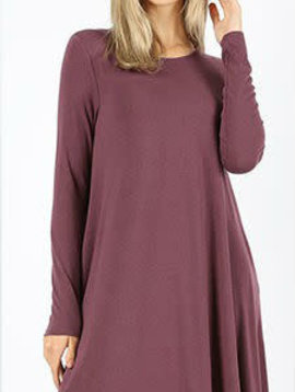 CURVY Long Sleeve Swing Dress Eggplant