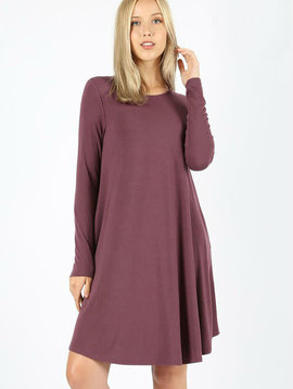 Long Sleeve Swing Dress Eggplant