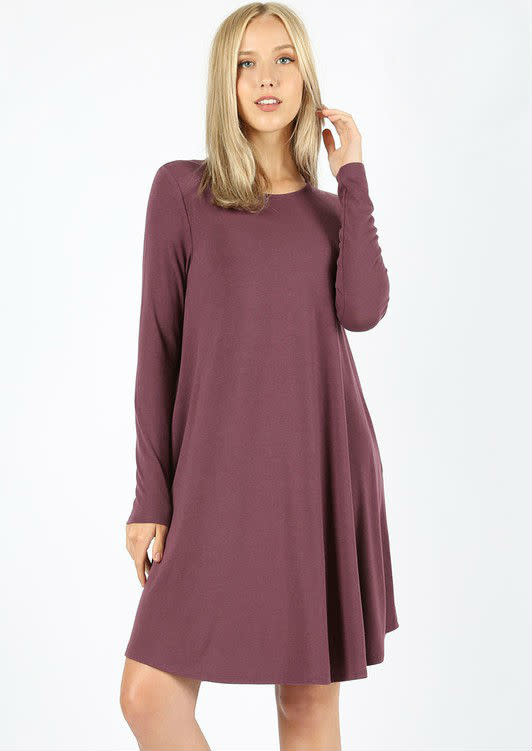 Long Sleeve Swing Dress Eggplant