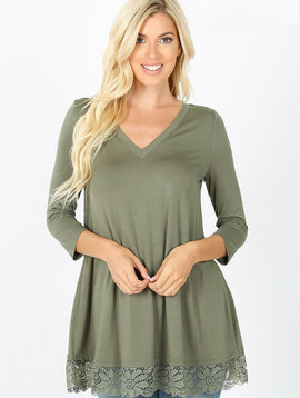 Light Olive Lace Trim Tunic