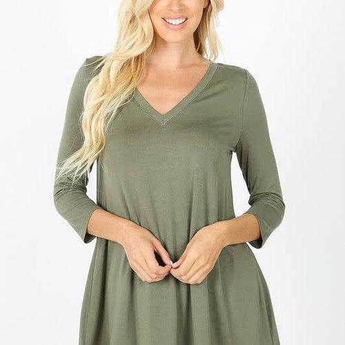 Light Olive Lace Trim Tunic