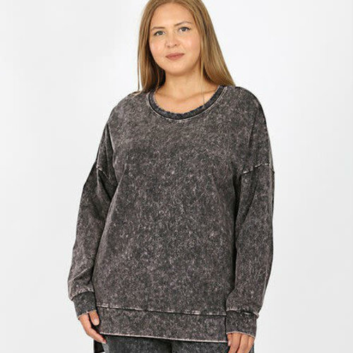 CURVY Charcoal Mineral Wash Top