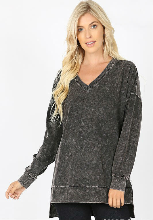 Charcoal Mineral Wash Top