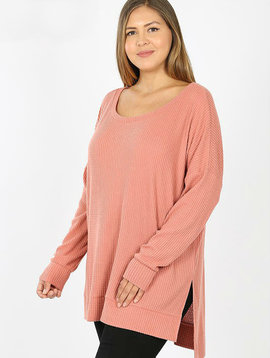 CURVY Coral Thermal Waffle Knit Top
