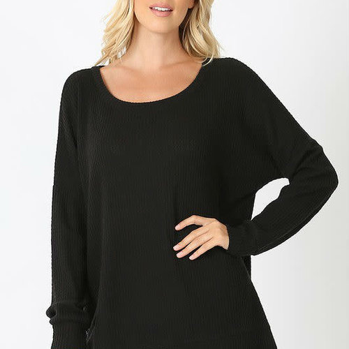 Black Thermal Waffle Knit Top