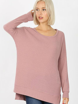 Rose Thermal Waffle Knit Top
