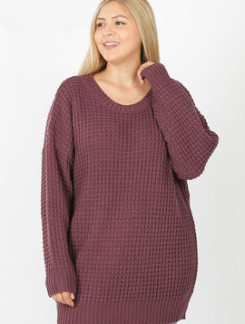 CURVY Eggplant Knit Sweater