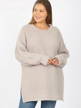 CURVY Light Gray Chunky Knit Sweater