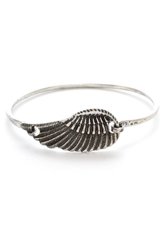 Silver Wing Feather Bangle Bracelet