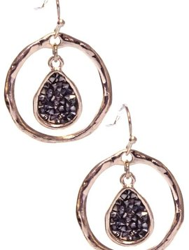 Druzy Charm Dangle Earring Black