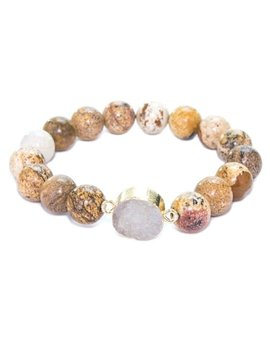 Druzy Beaded Bracelet Brown