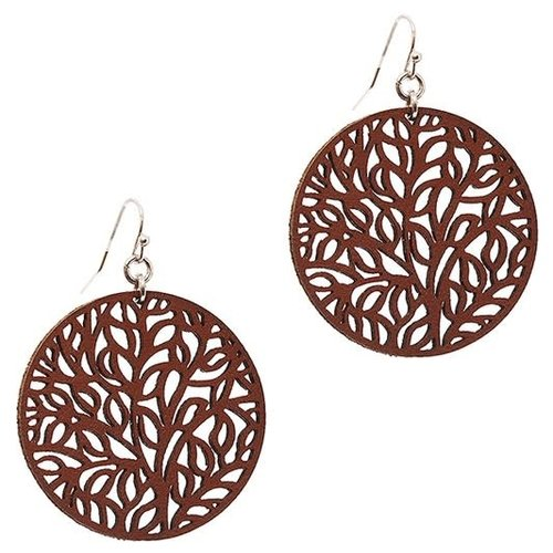 Round Filigree Leather Earring Brown