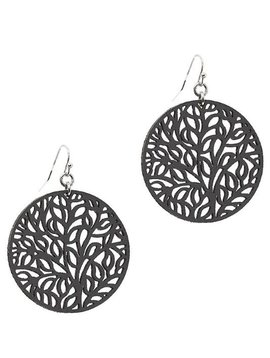 Round Filigree Leather Earring Black