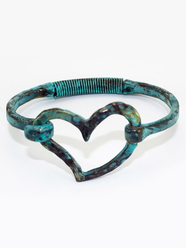 Hinged Heart Bracelet Patina