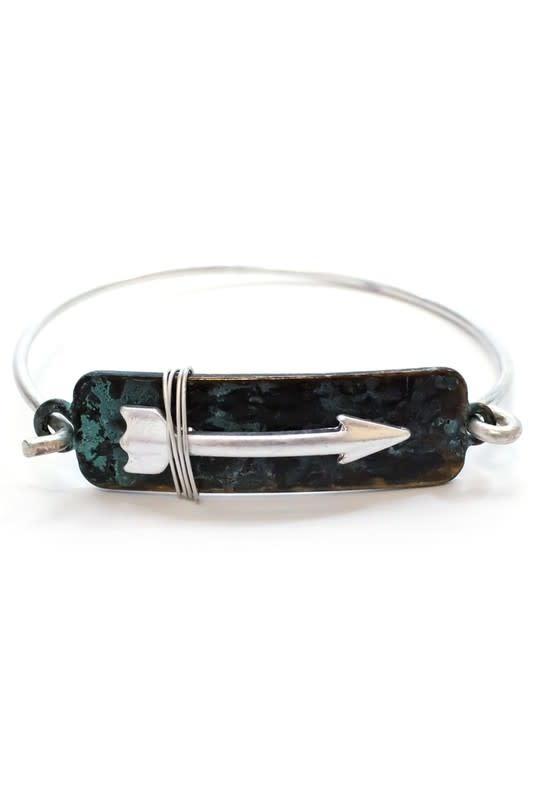 Wire Wrapped Arrow Bracelet Patina