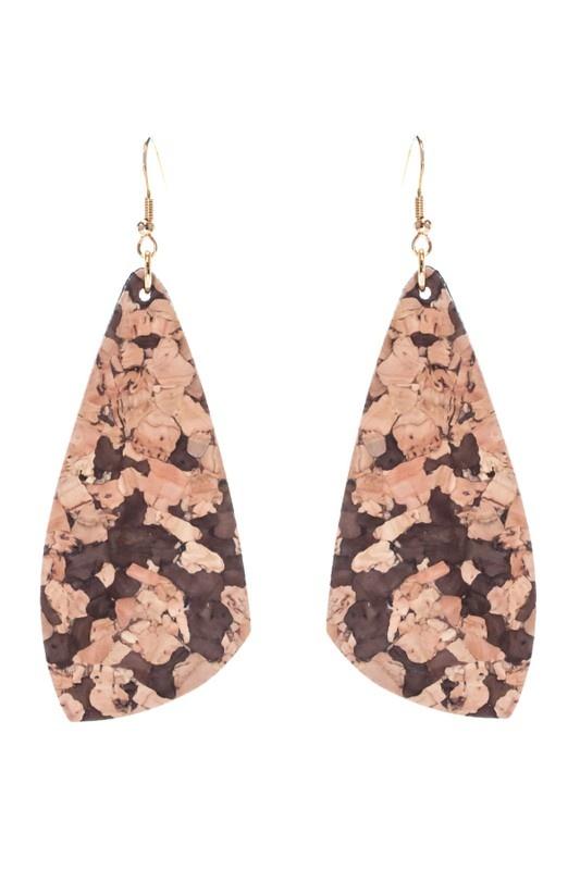 Teardrop Cork Suede Earrings in 3 Colors