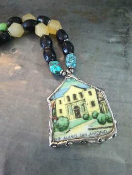 Vintage Soldered Alamo Plate  Necklace