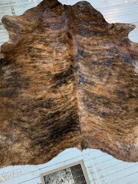 Thick + Curly Brown Brindle Cowhide 2564