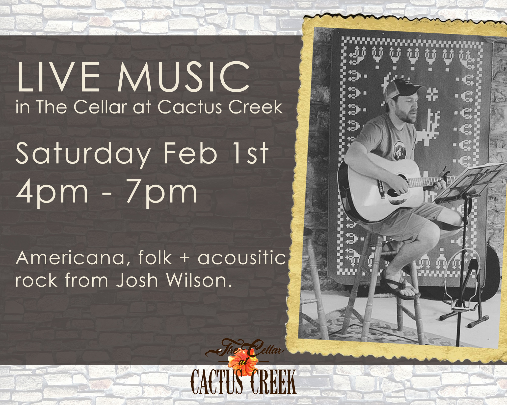 Live Music in The Cellar at Cactus Creek - Feb 1 2020