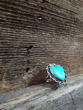 Navajo Sterling & Turquoise Heart Ring size 8