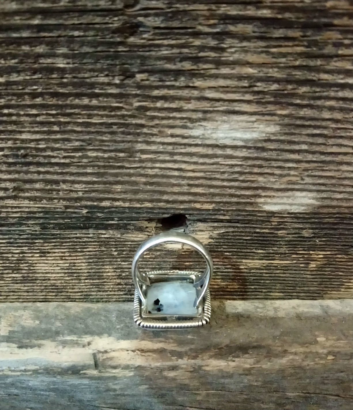 Square Sterling Moonstone Ring size 7