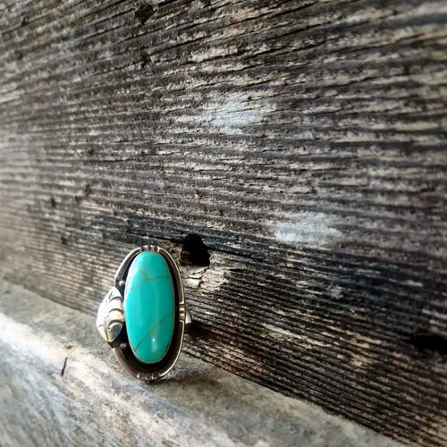 Sterling Leaf & Turquoise Ring size 7.5