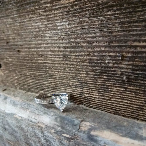 Sterling CZ Heart Ring Size 8