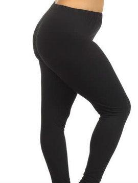 CURVY PLUS Solid Black Elastic Band Legging