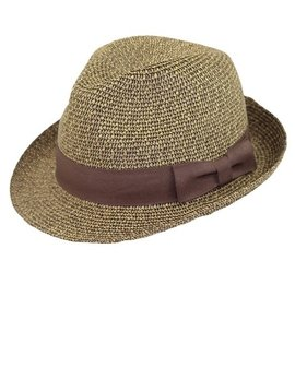 Brown Tweed Fedora with Brown Ribbon Hat Band