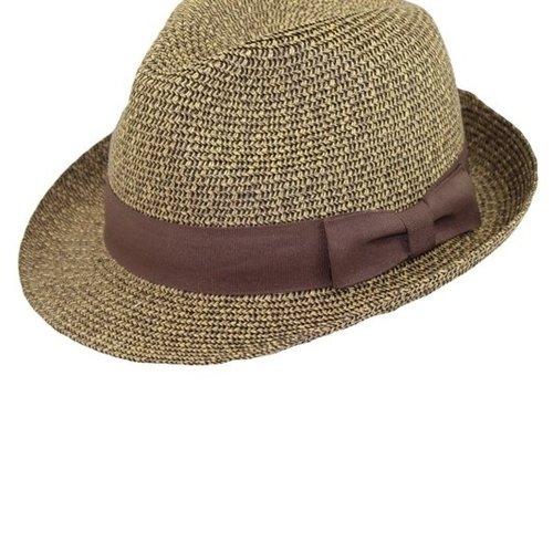 Brown Tweed Fedora with Brown Ribbon Hat Band