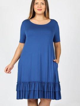 CURVY Sapphire Blue Ruffle Hem Dress