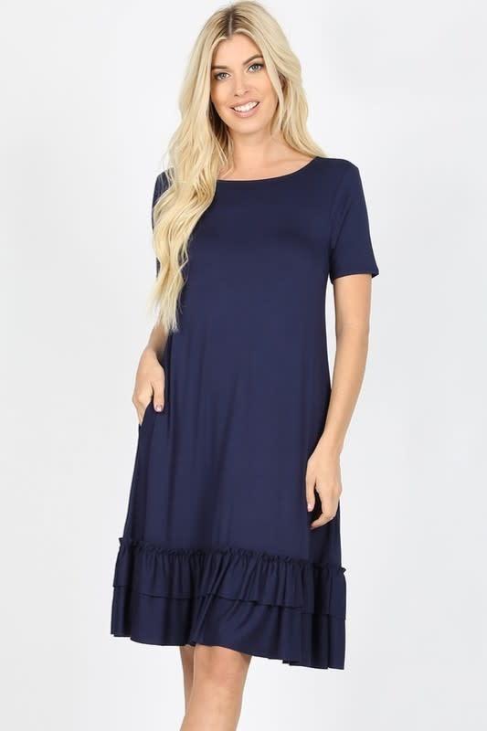 Navy Blue Ruffle Hem Dress
