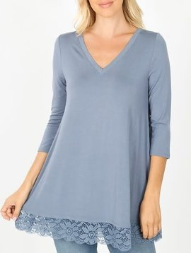 CURVY Cement Gray Lace Trim Tunic