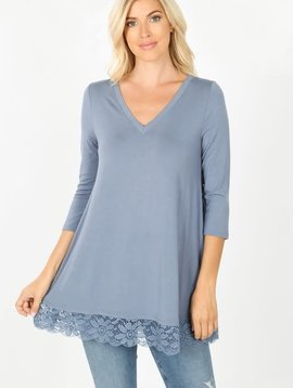 Cement Gray Lace Trim Tunic