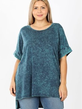 CURVY Aqua Mineral Wash Rolled Sleeve Top