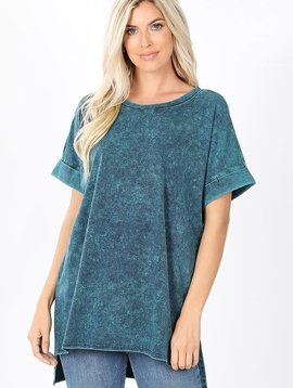 Aqua Mineral Wash Rolled Sleeve Top