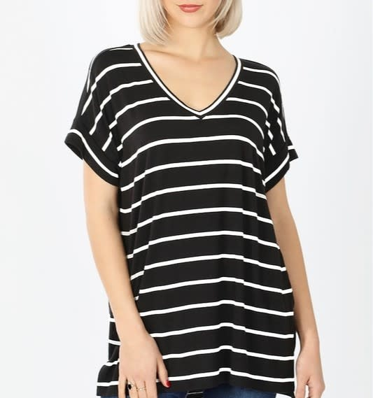 CURVY Black & Ivory Stripe V Neck Top with Rolled Sleeves