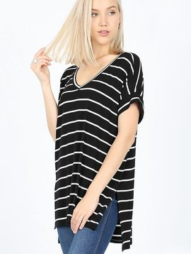 Black & Ivory Stripe V Neck Top with Rolled Sleeves