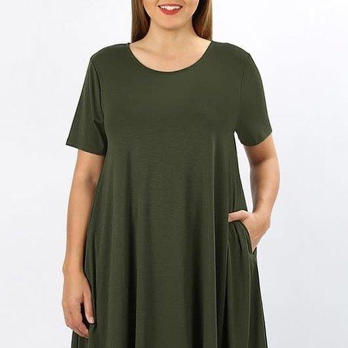 CURVY Army Green Shirt Dress with Pockets