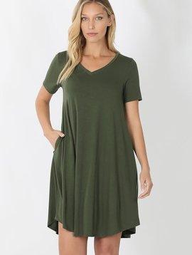 Army Green V Neck Dress with Pockets