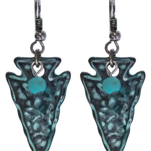 Hammered Turquoise Arrowhead Earring