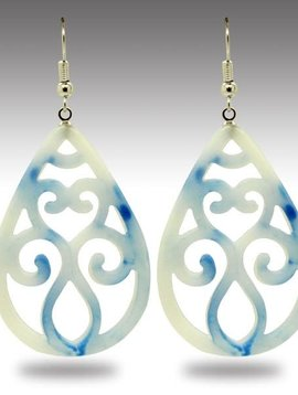 Semi Jade Filigree Earring