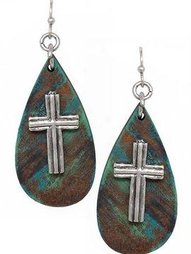 Teardrop Silver Cross Earring