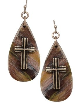 Teardrop Gold Cross Earring