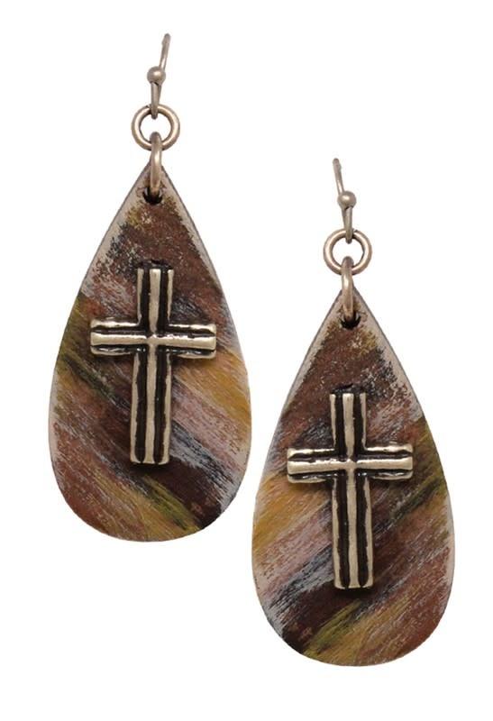 Teardrop Gold Cross Earring