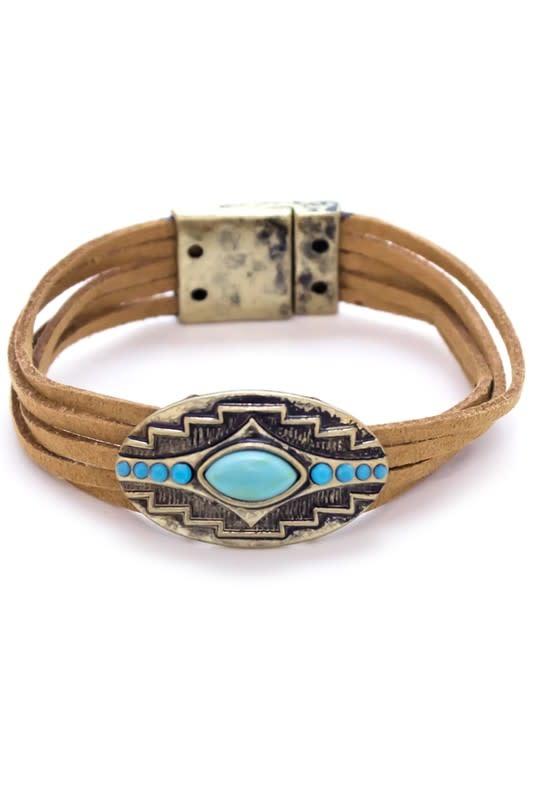 Suede Leather Tribal Bracelet